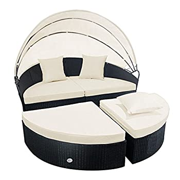 Cloud Mountain 4 Piece Patio Rattan Round Canopy Daybed Outdoor Cushioned Wicker Furniture Daybed Retractable Garden Lawn Sectional Sofa Set, Black Rattan Creamy White Cushions