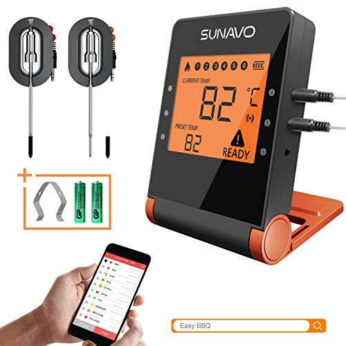 SUNAVO Bluetooth Meat Thermometer for Grilling APP Controlled Remote BBQ Turkey Smoker Wireless Digital Cooking Thermometer with 6 Probe Port, Support iOS & Android ()