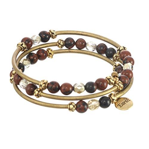 (Elements Triple Coil Metal & Gemstone Bracelet (Earth Element))