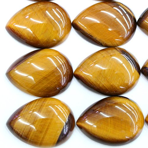 (5pcs Natural Gemstone Teardrop 22*30mm Cabochons for Jewelry Making Beads Cabs (Tiger's Eye))