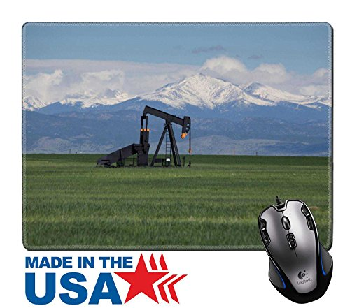 """Oil Gasoline Prices (MSD Natural Rubber Mouse Pad/Mat with Stitched Edges 9.8"""" x 7.9"""" IMAGE ID 19911684 Oil Pumps in Green Field With Snow Covered Rocky Mountains and Blue Sky)"""