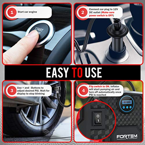 FORTEM Digital Tire Inflator for Car wAuto PumpShut Off Feature Portable Air Compressor Carrying