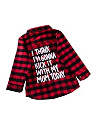 puseky Toddler Kids Boys Girls Plaid Shirt Long Sleeve Letters Print Button-Down Shirt Jacket Top