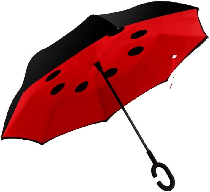 Auto Umbrella Folding Creative Reverse Folding Umbrella Double Handle Large Men and Women Free Holding Reverse Umbrella Color : Red