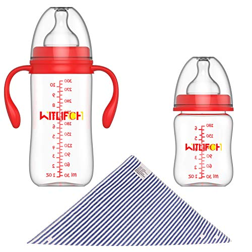WITLIFCH Anti-Colic Baby Bottles Newborn - 6&10 OZ Baby Bottles for Girls and Boys with Handle - 2 Pack Wide Neck Bottles, Clear BPA-Free Feeding Bottle Gift - Handles Bpa Bottle Free