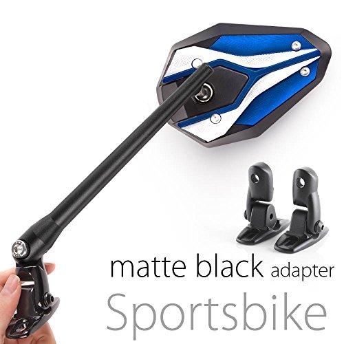 Magazi Viper II motorcycle mirrors blue fairing mount w/ matte black adapter for sports bike adjustable e by Magazi