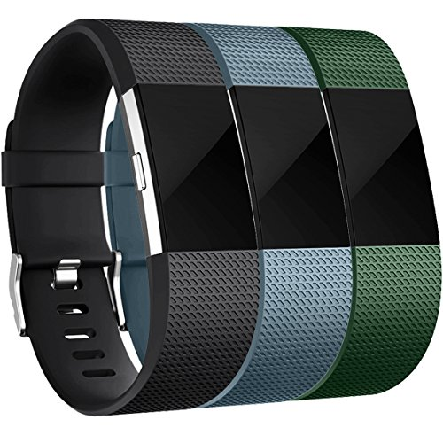 Bands for Fitbit Charge 2, Black Slate Blue Green, Large (No Charger Yellow)