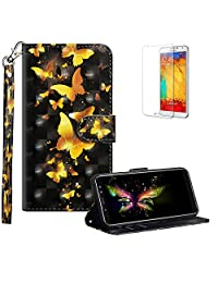 Funyye Strap Flip Cover for Samsung Galaxy A8 2018,Stylish 3D Gold Butterfly Design Magnetic Folio Wallet Leather Case with Credit Card Holder Slots PU Leather Cover for Samsung Galaxy A8 2018,Full Body Shockproof KickStand Protective Soft Silicone Case for Samsung Galaxy A8 2018 + 1 x Free Screen Protector