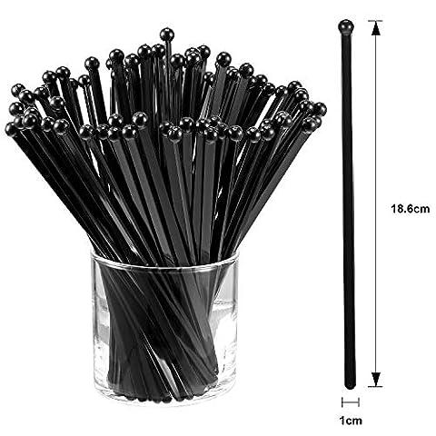 100 Pieces Disposible Plastic Round Top Crystal Swizzle Sticks (Black)