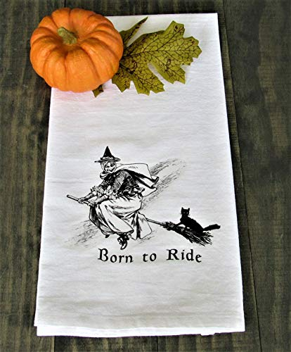 Halloween Born To Fly Witch Print - Kitchen/Bath Hand Towel]()