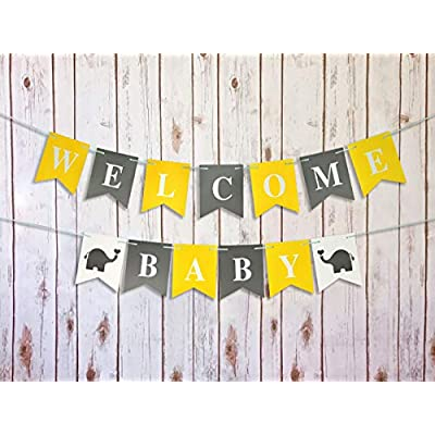 Furuix Yellow Baby Shower Decorations Neutral Yellow Grey Elephant Baby Shower Decorations Gray Yellow Nursery Decor Welcome Baby Banner/Gender Neutral Baby Decor: Home & Kitchen