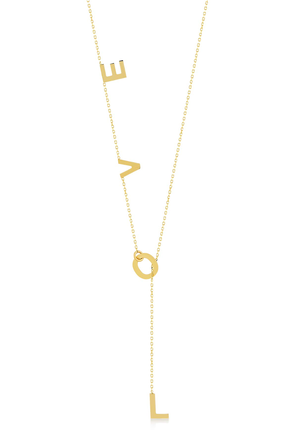 GELIN 14k Solid Gold Hanging LOVE Character Y Necklace for Women, 18'' by Gelin