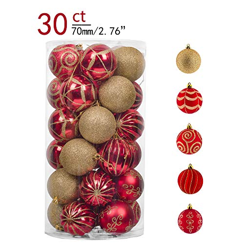 Teresas Collections 30ct 70mm Warmly Red and Gold Shatterproof Christmas Ball Ornaments Decoration,Themed with Tree Skirt(Not Included)
