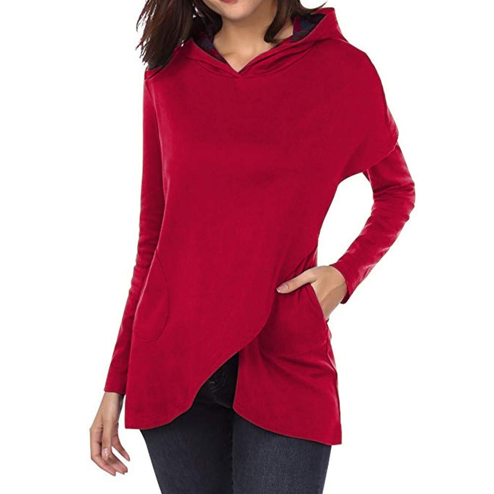 Ulanda Women's Long Sleeve Plaid Hoodies Asymmetric Hem Pullover Sweatshirt Tops Blouse
