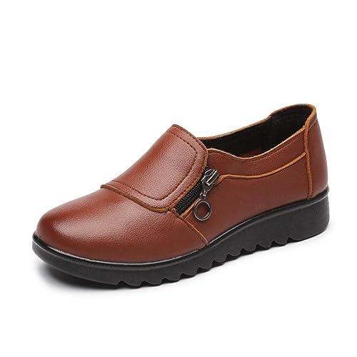 Zapatos De Mujer Mocasines con Plataforma Plana OtoñO Invierno Cerdo Gamuza De Cuero Zapatillas Sin Cordones con Fondo Suave: Amazon.es: Zapatos y ...