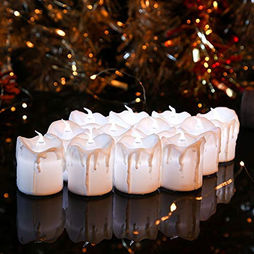Flameless Votive Candles,White Flickering Realistic Flameless Candles,Battery Operated Tea Lights for Outdoor,Home,Halloween,Christmas,Kitchen Decor(Pack of 12) -