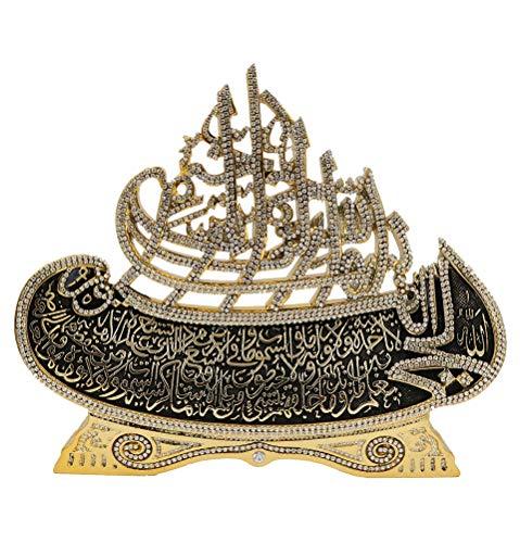 Modefa Islamic Turkish Table Decor Showpiece Gift Sculpture Figure Arabic Bismillah & Ayatul Kursi Boat (Gold, 8.7 x…