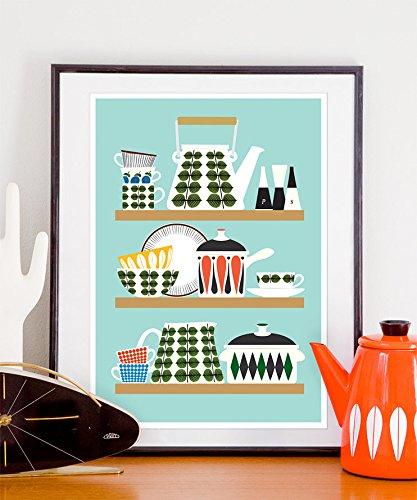 Stig Lindberg Kitchen Print, Mid century modern art, kitchen art, cooking poster, Scandinavian design