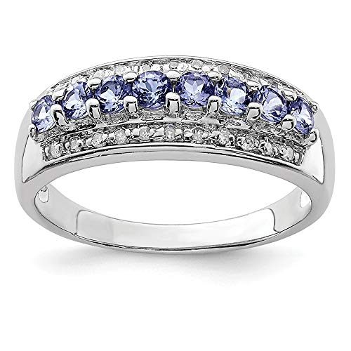 925 Sterling Silver Blue Tanzanite Diamond Band Ring Size 7.00 Stone Gemstone Fine Jewelry Gifts For Women For Her