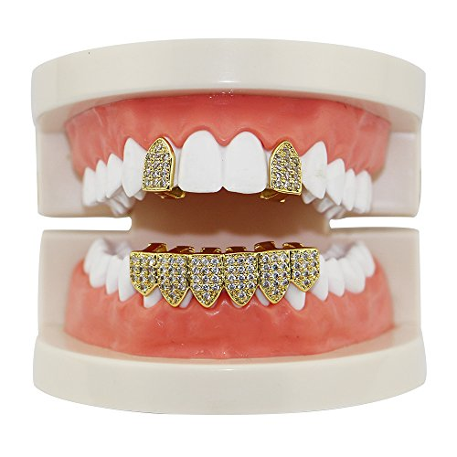 14k Gold Silver Pave Full CZ Grillz 2 pc Single Top and 6 Bottom Teeth Set (Grillz Silver Top Bottom Grills)