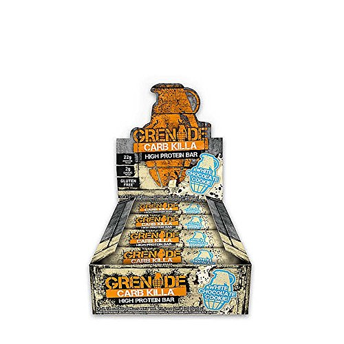 GRENADE Carb Killa Protein Bars, Low Carb Triple-Layered Deliciously Crunchy High Protein Bar - Suitable Meal Replacement For Weight Loss, White Chocolate Cookie, 2.12 Ounce (Pack of 12)
