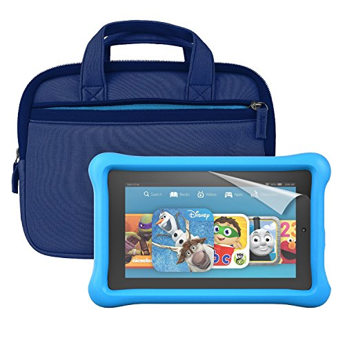 "Fire Kids Edition Essentials Bundle including Fire Kids Edition, 7"" Display, Wi-Fi, 16 GB, Blue Kid-Proof Case, Nupro Screen Protector and Verso Sleeve"
