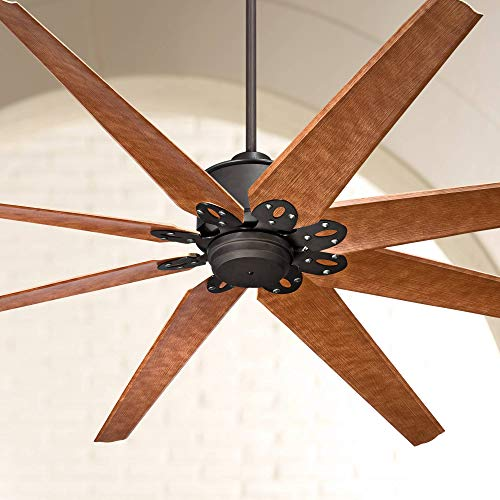 """72"""" Predator Outdoor Ceiling Fan with Remote Control Large English Bronze Cherry Damp Rated for Patio Porch - Casa Vieja"""