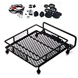 RC-CN 1 Set Black RC Crawler Car 1/10 1:10 Roof Luggage Rack with 4 White LED Light Bar for Wrangler Crawler Tamiya CC01 SCX10 Axial HPI Truck