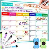 Monthly Dry Erase Calendar Whiteboard - Magnetic Calendar for Refrigerator White Board Schedule Planer for Fridge Wall 17'x13' & 5 Fine Point Markers & 2 Eraser Included