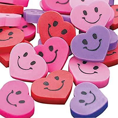 MINI SMILE FACE HEART ERASERS - Stationery - 144 Pieces: Toys & Games