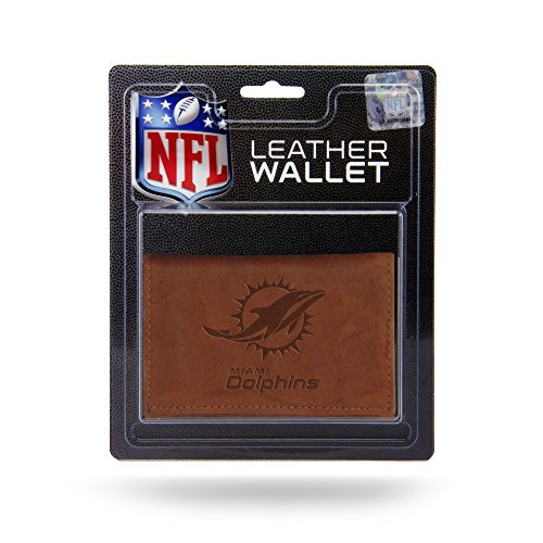Leather Miami Dolphins Tri Fold Wallet - Rico Industries NFL Miami Dolphins Leather Trifold Wallet with Man Made Interior