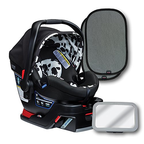Britax B-Safe 35 Elite Infant Car Seat, Cowmooflage, Back Seat Mirror, and 2 EZ-Cling Window Sun Shades
