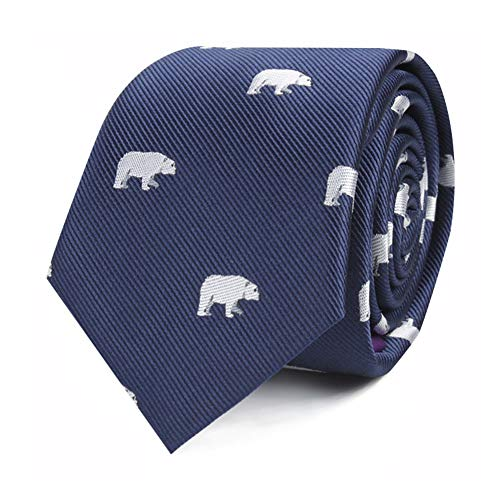 Animal Ties | Woven Skinny Neckties | Gift for Men | Work Ties for Him | Birthday Gift for Guys (Polar Bear)