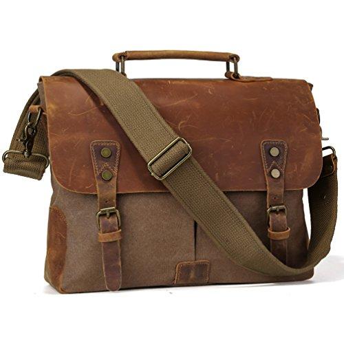 TIDING Men Canvas Leather Cross body Bag Hobo Messenger Laptop Bag N11432