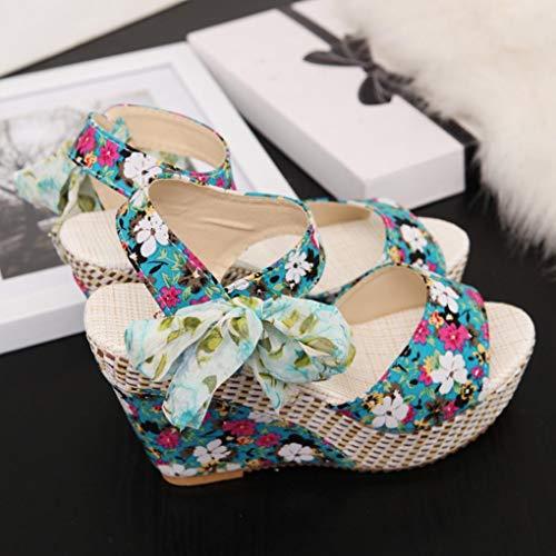 À Élégante Uomogo D'été Pour Et Boucle Avec Verte Compensées Chaussures Haute Ouvert 1 Élégantes Bout Semelles 6 Sandales Femmes Talon 00817