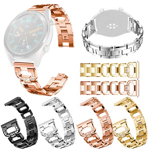 Finedayqi ❤ Replacement Metal Crystal Watch Strap Wrist Band for Huawei Watch GT (Rose Gold) by Fineday (Image #6)