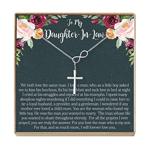 Dear Ava Daughter-in-Law Gift Necklace: Wedding Gift, Jewelry from Mother-in Law, Infinity Cross (Silver-Plated-Brass, NA)