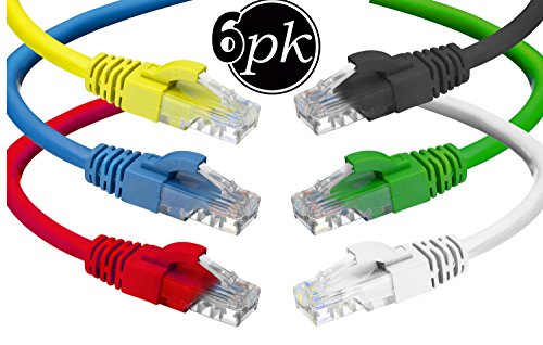 CAT6 Ethernet Cable (6 Feet) LAN, UTP (1.8 m) CAT 6 RJ45, Network, Patch, Internet Cable - 6 Pack (6 ()