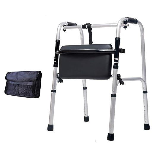 Andador con ruedas Walker plegable con asiento reversible PU Plate ...