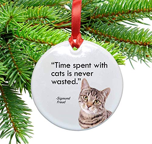 Freud and Cats Quote Ceramic Christmas Ornament. Time Spent with Cats is Never Wasted (Christmas For Quotes Ornaments)