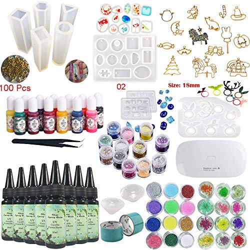 8 Pieces 30ML Crystal Epoxy Resin UV Glue, 1 Lamp Tweezer 36 Decoration 11Pcs Silicone Mould 100 Rings 13 Color Liquid Pigment 17 Metal Jewelry with 2X 5 Meters Tape For DIY Beauty -