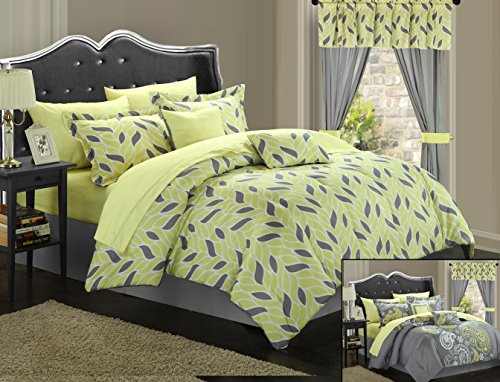 Chic Home Olivia 20-Piece Comforter Set Reversible Paisley Print Complete Bed in a Bag with Sheet Set, Window Treatments, and Decorative Pillows, King Yellow/Grey ()