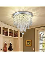 DLLT LED Mini Modern Crystal Chandelier Light, 3-Lights Elegant Flush Mount Ceiling Lamp, Crystal Lights Fixture for Bedroom, Hallway, Kitchen, Bathroom, Living Room
