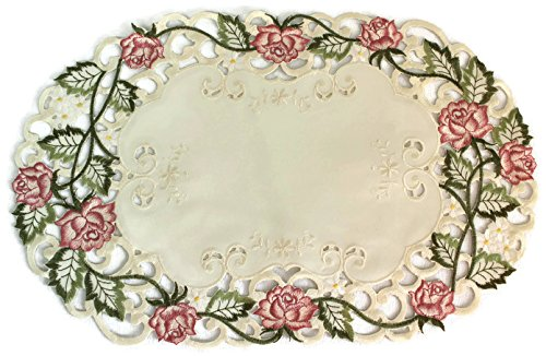 Doily Boutique Place Mat or Doily with Victorian Pink Roses on Ivory Fabric, Size 27 x 13 inches