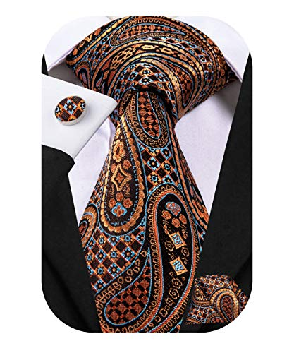 Dubulle Mens Retro Brown Paisely Silk Tie and Pocket Square Set for Business