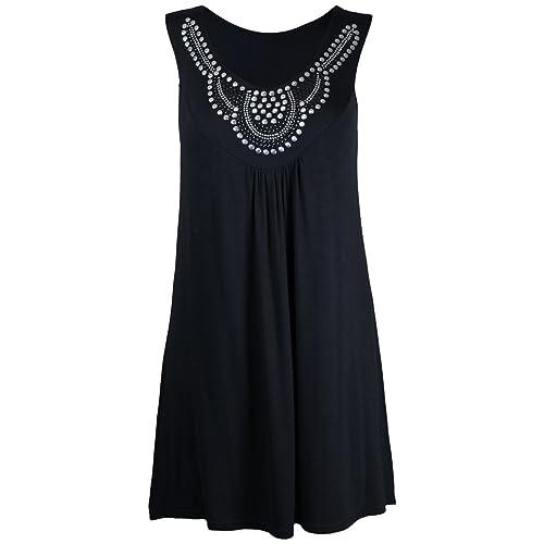 New Ladies Long Beaded Diamante Sleeveless T-Shirt Tops Womens Scoop Neck Stud Bead Vest