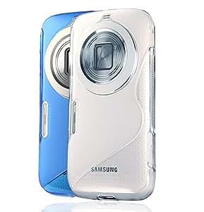 MYLB (2 in 1 set) FUNDA de TPU para Samsung Galaxy K Zoom Diseño en S- line (azul & claro transparente)