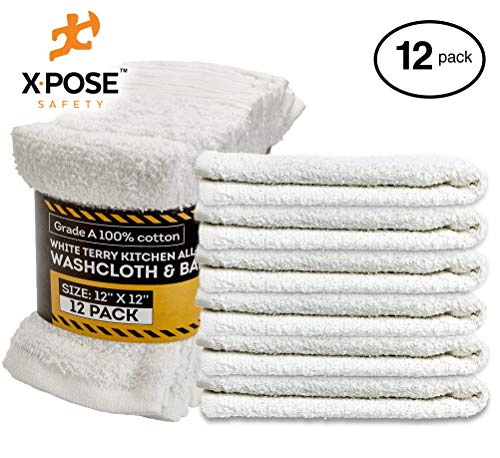 Xpose Safety Bar Mop Towels 12 Pack - Terry Cloth Cotton - Premium Quality Absorbent Home, Kitchen and Restaurant White Cleaning Rags - 12