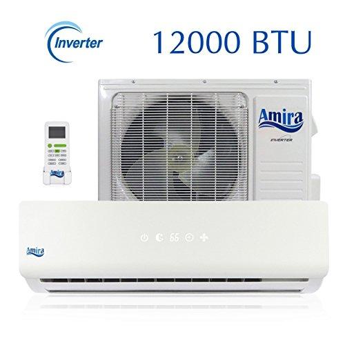 Amira 12000 BTU Mini Split Air Conditioner and Heat Pump with 15 Foot Installation Kit - 208-230 VAC (Bill Split Cap)