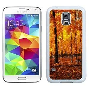 NEW Unique Custom Designed Samsung Galaxy S5 I9600 G900a G900v G900p G900t G900w Phone Case With Orange Forest Autumn_White Phone Case